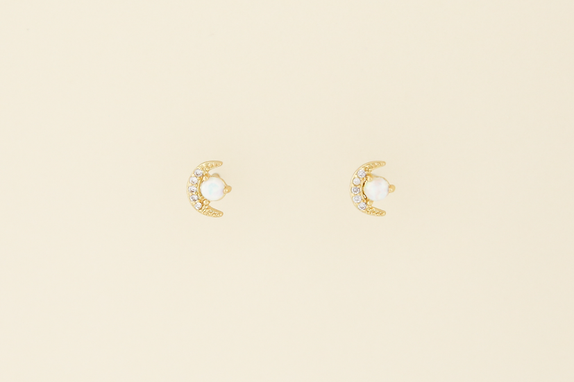 Opal Moon Studs in Gold