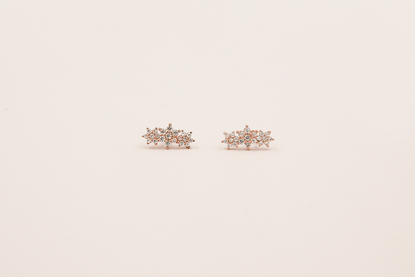 Aralyn Three Flowers Studs in Rose Gold