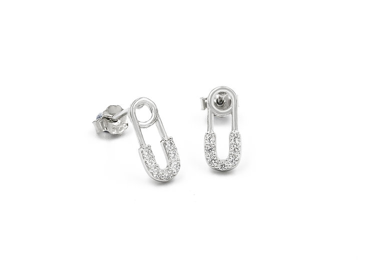 Paperclip Stud Earrings in Silver