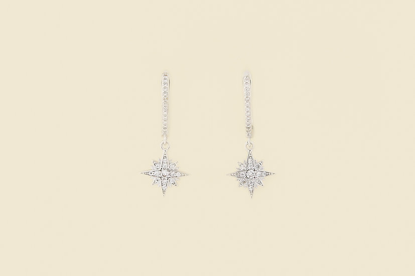 Mila Starburst Earrings in Silver
