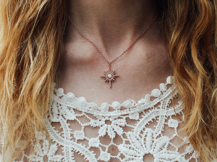 Elise Starburst Necklace in Rose Gold