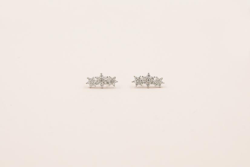 Aralyn Three Flowers Studs in Silver