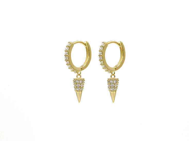 Drop Spike Hoops in Gold