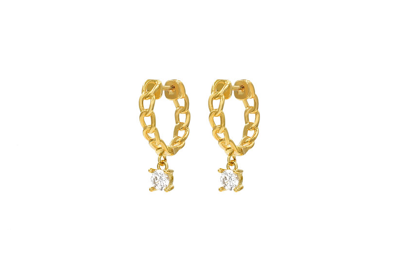 Irregular Hollow Out Chain Hoop Earrings with dangling CZ stone in Gold