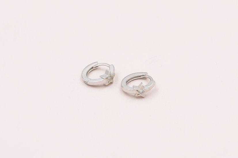Karo Star Mini Hoops in Silver
