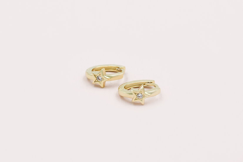 Karo Star Mini Hoops in Gold
