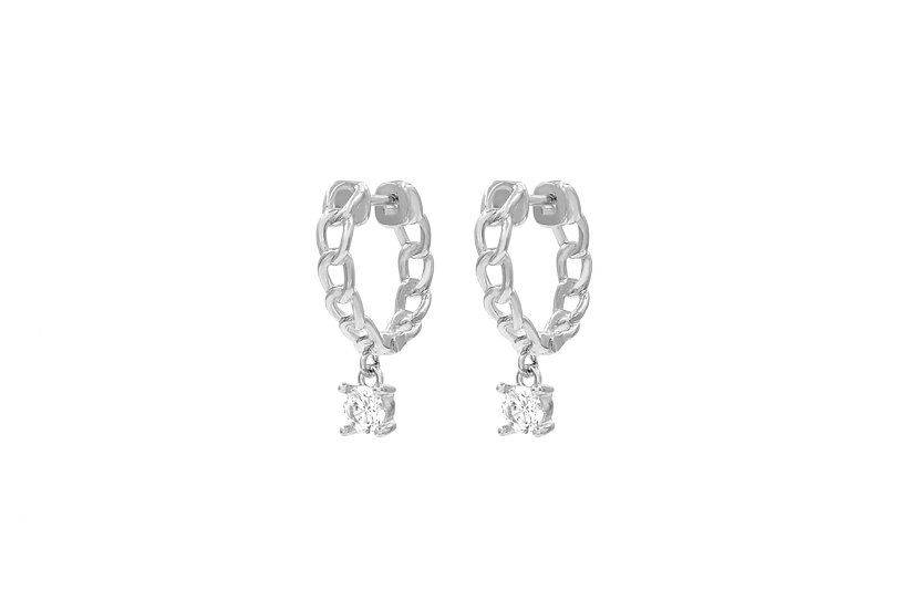 Irregular Hollow Out Chain Hoop Earrings with dangling CZ stone in Silver