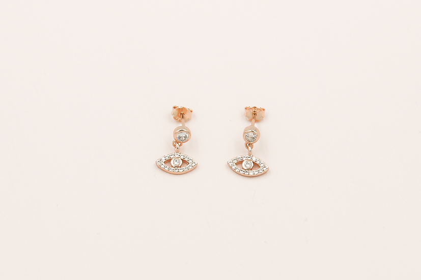 Aralyn Evil Eye Studs in Rose Gold