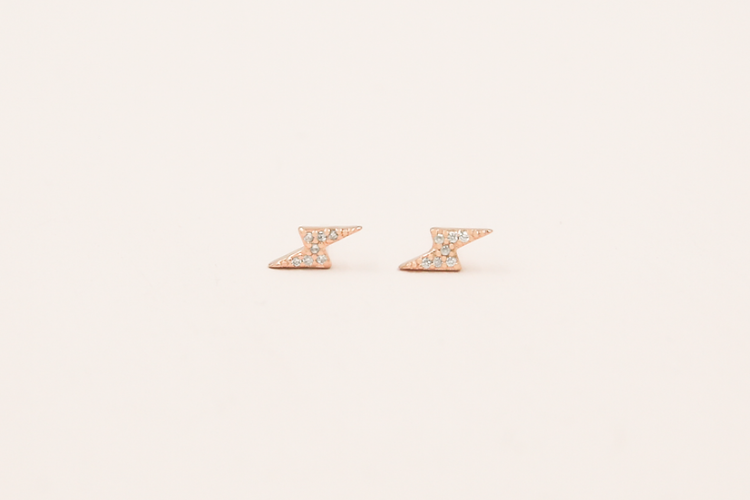 Aralyn Bolt Studs in Rose Gold