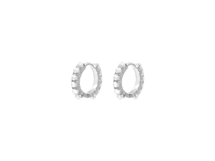 Rola Pearl Hoops in Silver