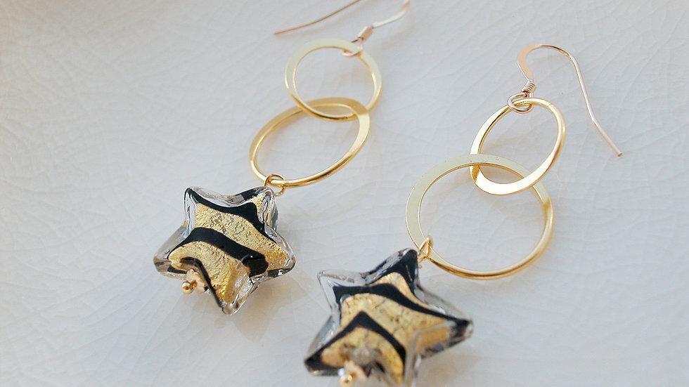 Gold Murano Glass Star Earrings
