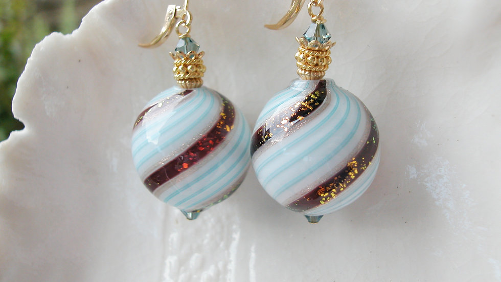 Venetian Murano Blown Glass Dichroic Earrings
