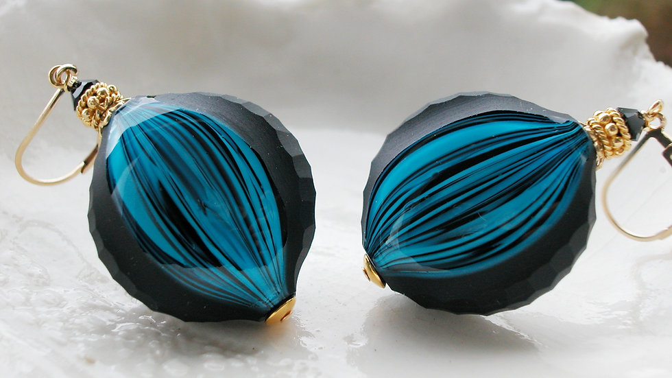 Black & Blue Murano Battuto Earrings