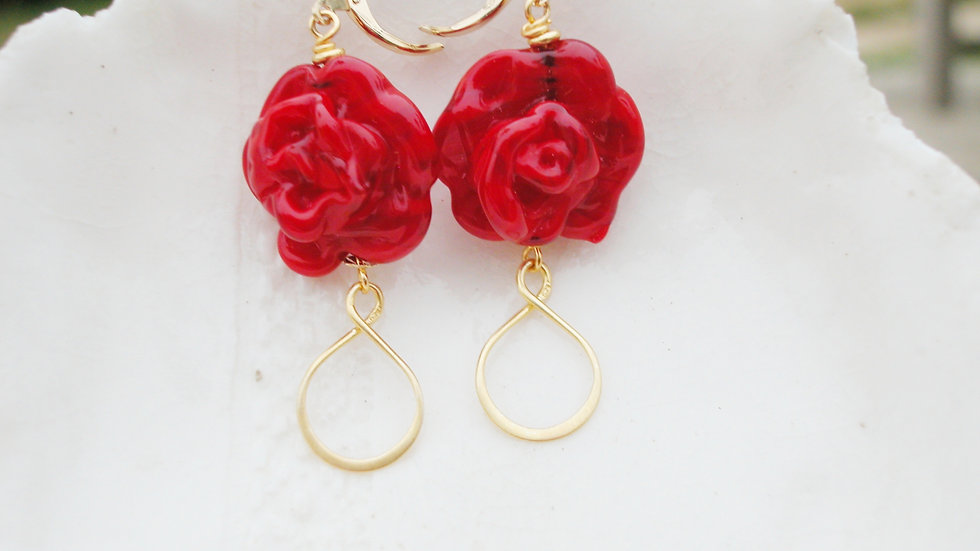 Red Rose Murano Glass Long Earrings