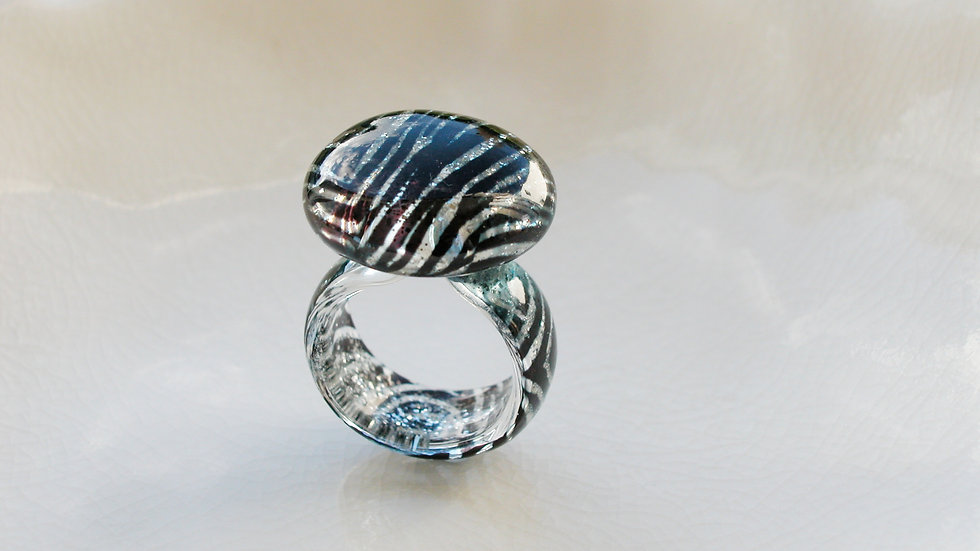 Murano Zebra Print Glass Ring