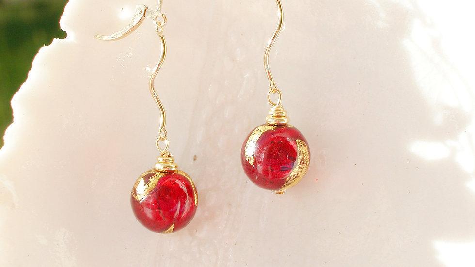 Long Red Murano Glass Earrings