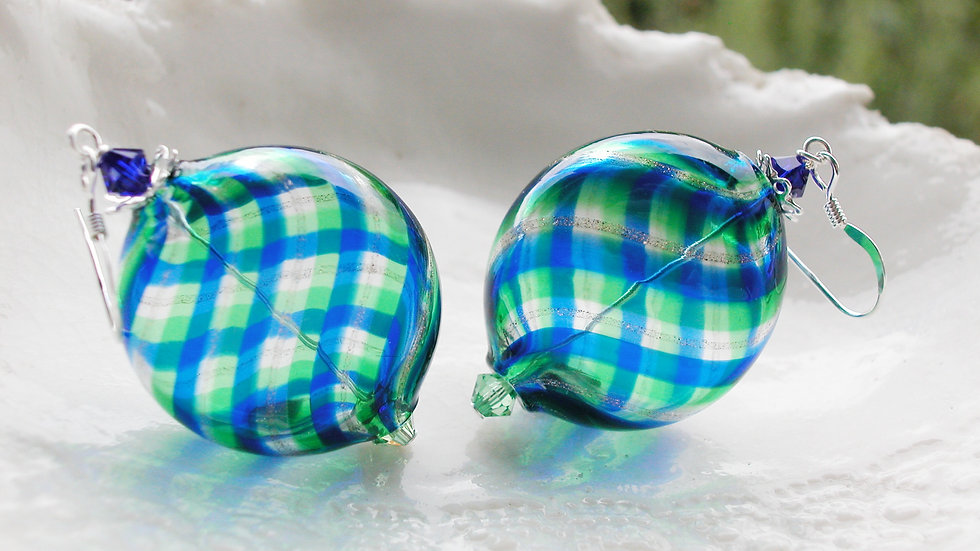 Murano Plaid Blown Glass Earrings