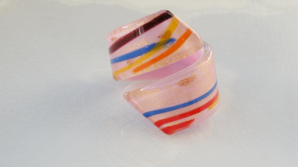 Pink Murano Glass Snake Ring