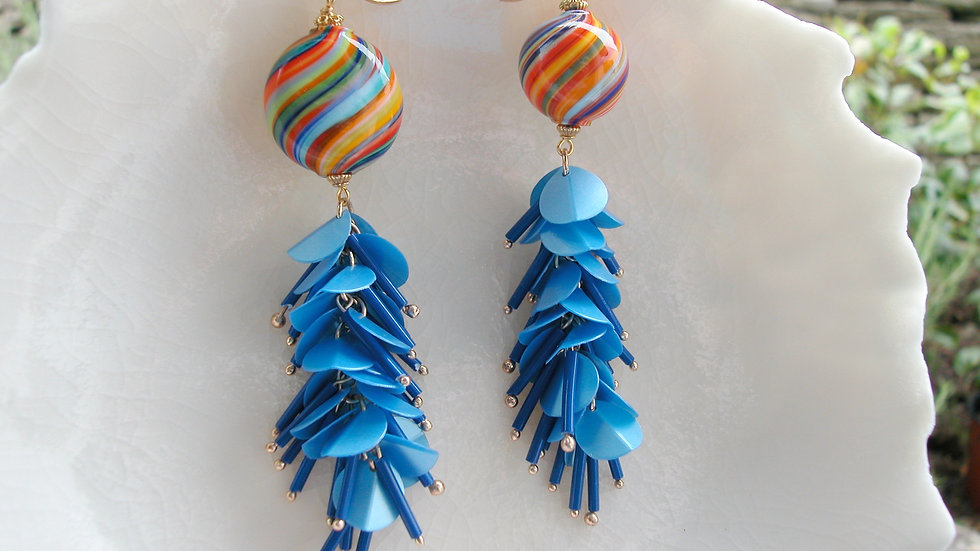 Murano Glass Mis-matched Tassel Earrings
