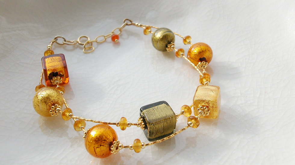14k Gold Fill Murano Glass Bracelet