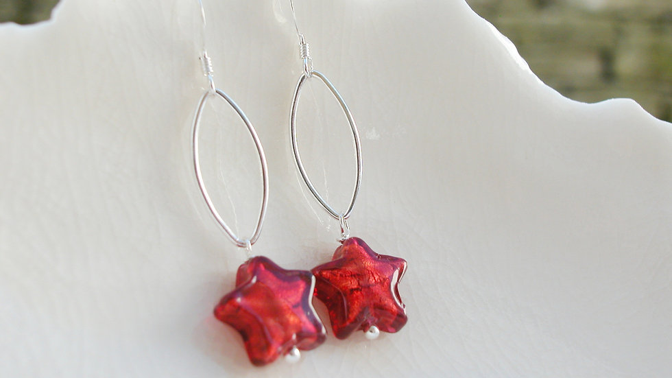 Red Murano Glass Star Earrings