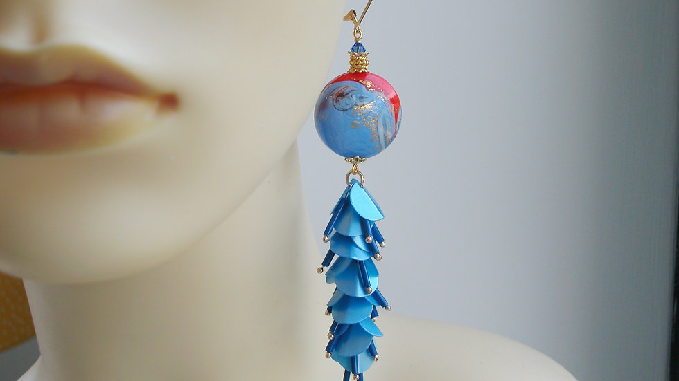 Long Murano Glass Tassel Earrings