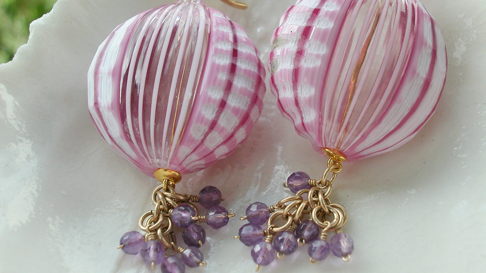 Pink Murano Blown Glass Sculpted Battuto Earrings