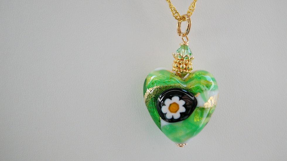 Millefiori Murano Green Glass Heart Neckalce