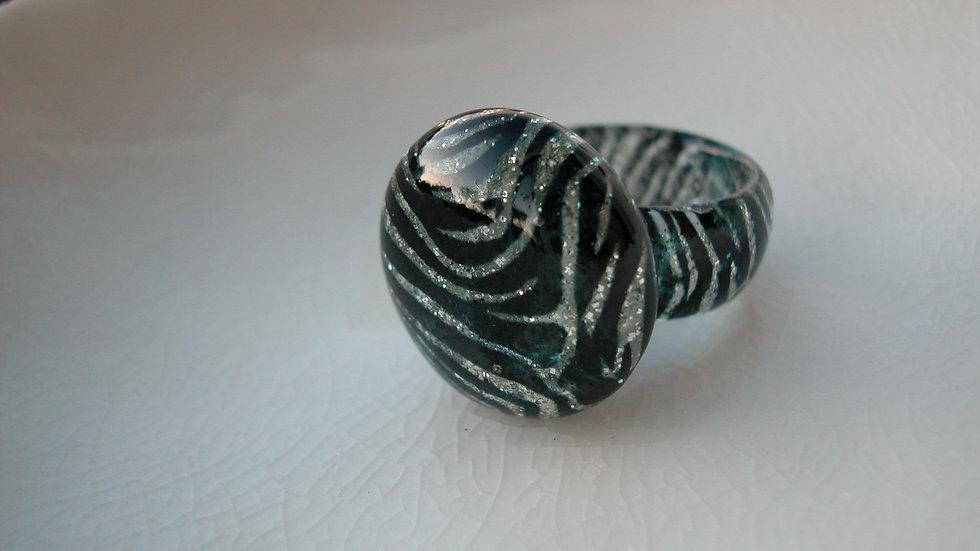 Venetian Murano Zebra Print Glass Ring