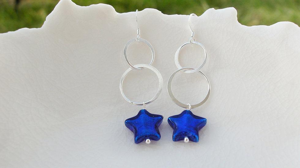 Murano Blue Star Earrings
