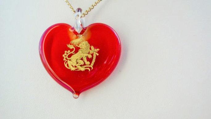Murano Birthsign Zodiac Heart Necklace