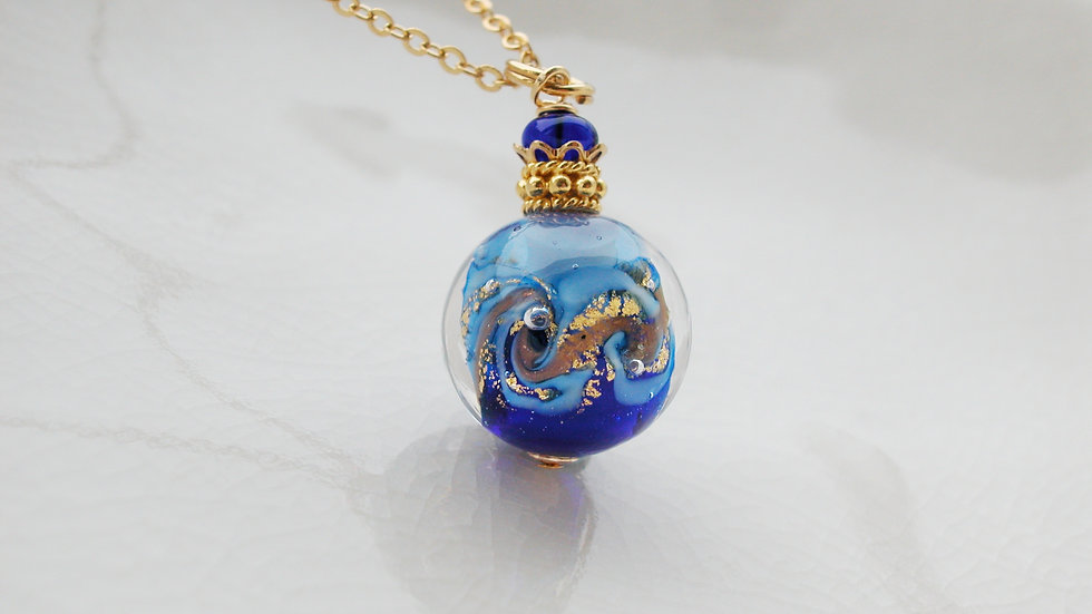 Round Blue Murano Glass Necklace