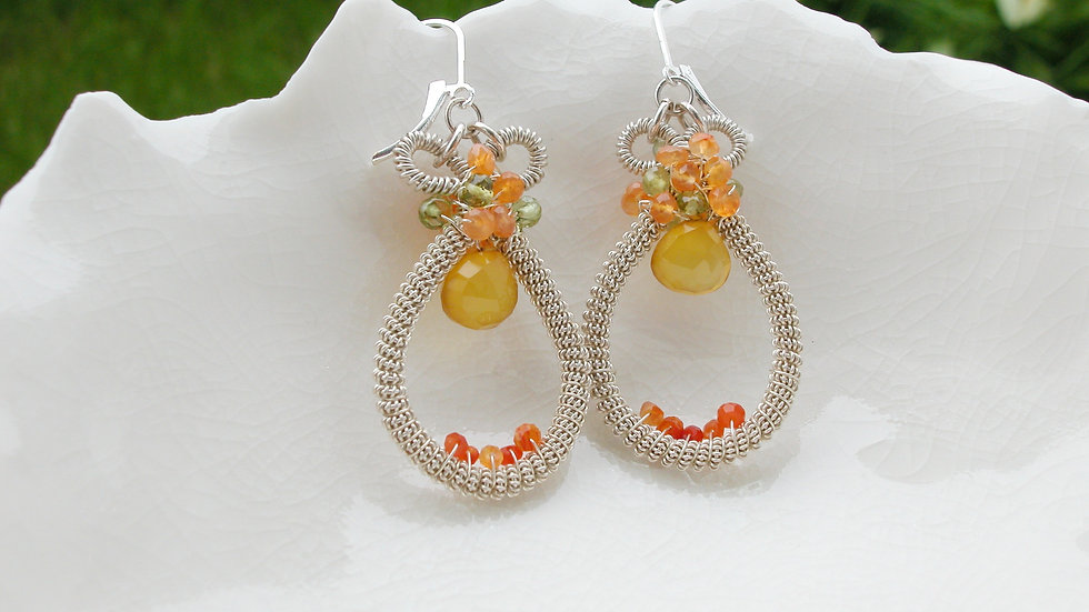 Sterling Wire-Wrapped Semi Precious Earrings