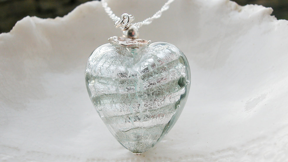 Murano Glass Striped Large Heart Necklace