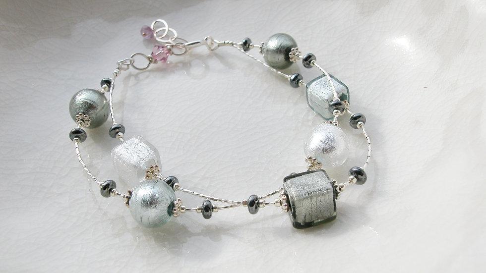 Grey Murano Glass Sterling Silver Bracelet