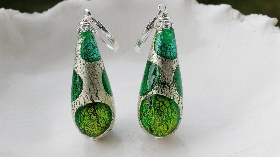 Green Murano Glass Drop Earrings