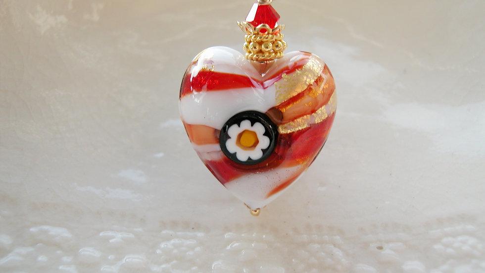 Murano Red Glass Heart Neckalce