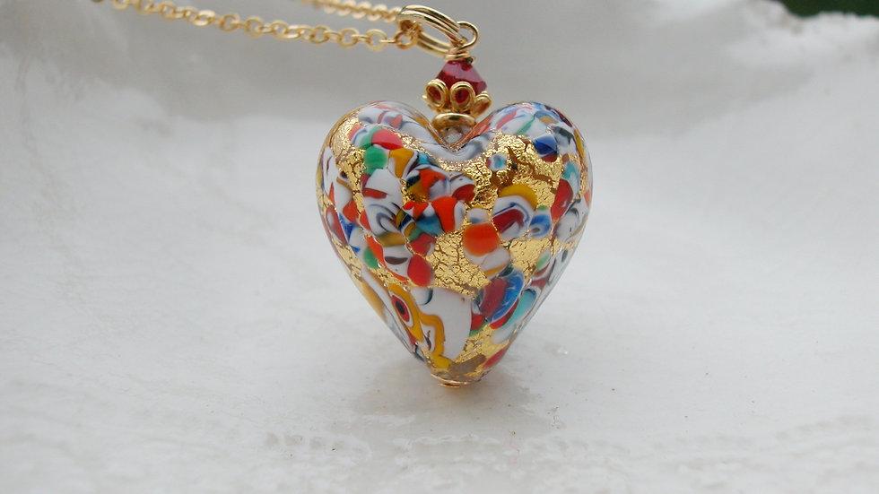 Gold Millefiori Murano Glass Necklace