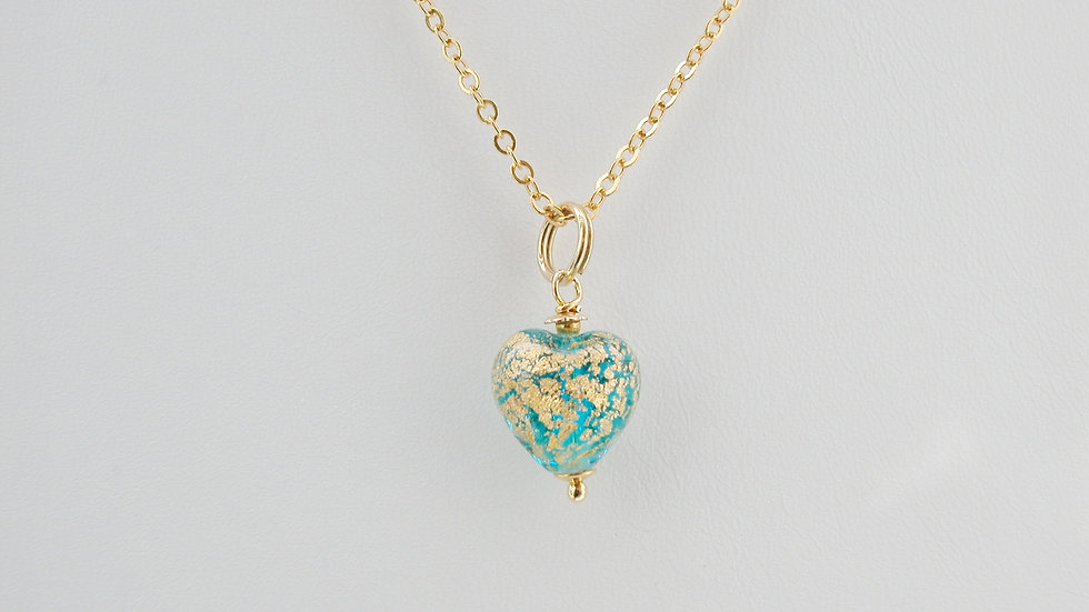 Petite Aqua Murano Glass Heart Necklace
