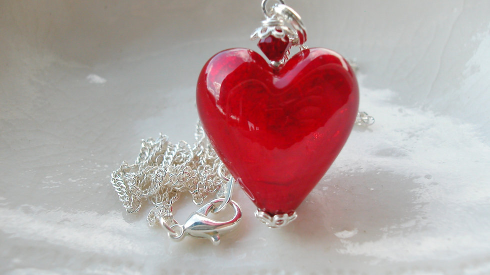 Red Heart Murano GlassNecklace