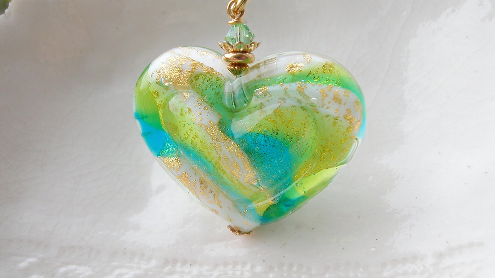 Large Murano Double Heart Necklace