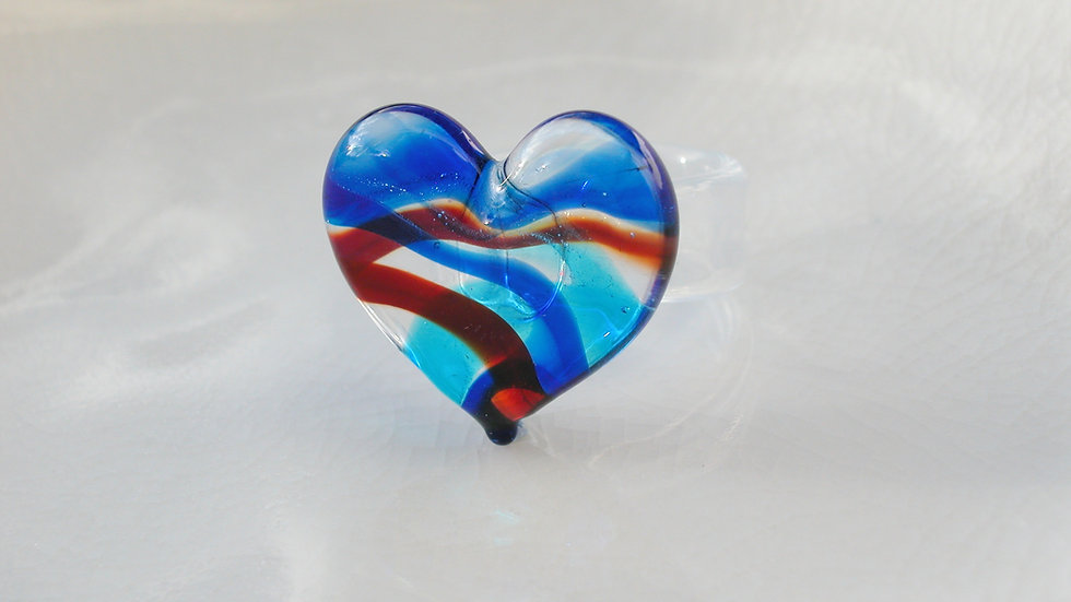 Murano Glass Heart Ring