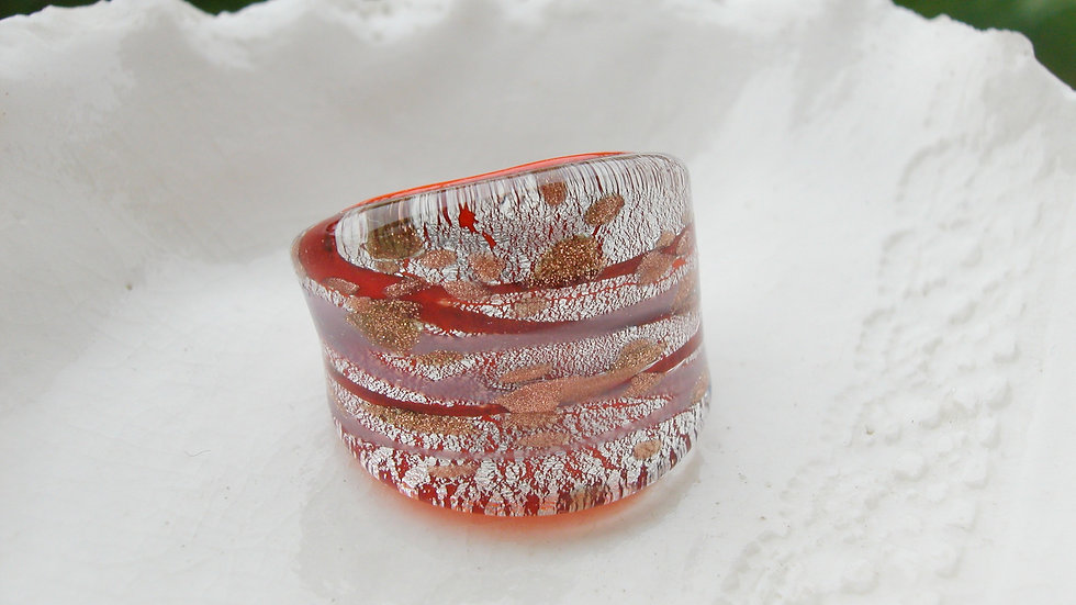 Murano Glass Ring UK P or US 7.5