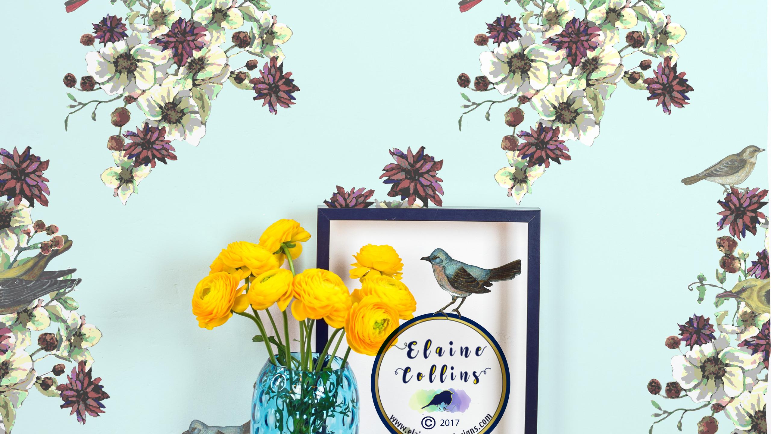 Painted retro bird bouquet wall