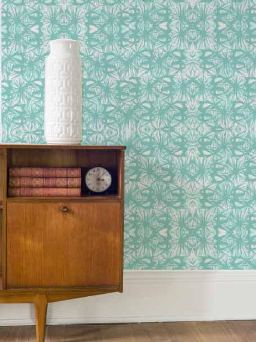 Tropical Plant Wallpaper in Teal