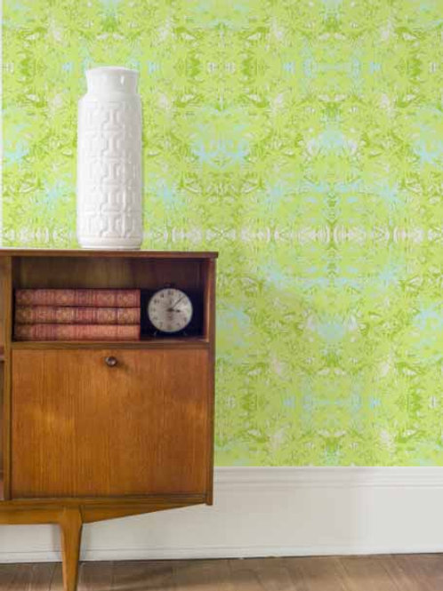 Tropical Plant Wallpaper in Lime