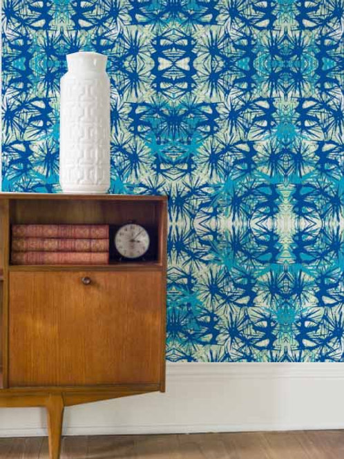 Tropical Plant Wallpaper in Midnight Blue