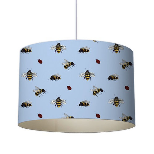 Buzy Bees in Blue Designer Lampshade by Elaine Collins Designs