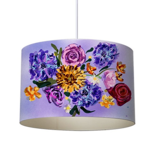 Painterly Floral Designer Lampshade by Elaine Collins Designs