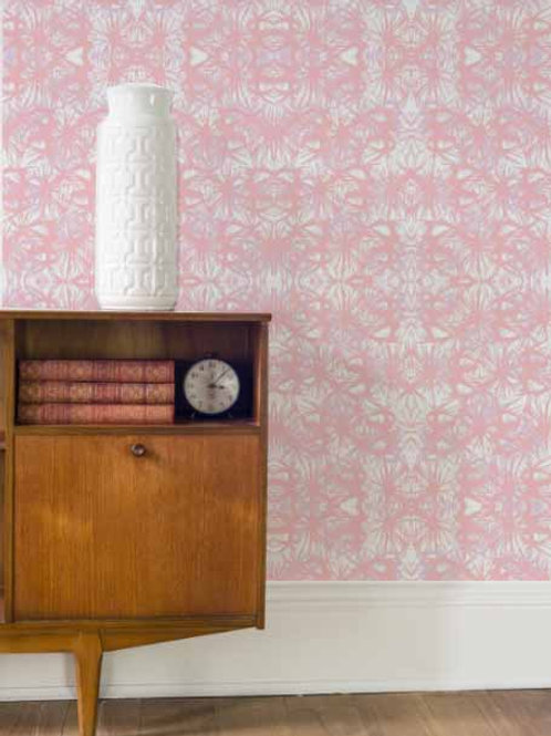 Tropical Plant Wallpaper in Rose Quartz